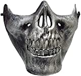 Inno-Huntz Skeleton Face Mask Realistic Halloween Skull Mask Half Face Design in Variation Cool Cosplay Party Costume Men Women Décor Wear Accessory (Silver)