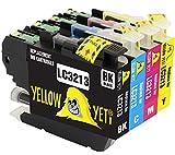 Yellow Yeti Reemplazo para Brother LC3213 Cartuchos de Tinta compatibles con Brother DCP-J572DW DCP-J774DW MFC-J895DW MFC-J497DW MFC-J890DW J491DW DCP-J772DW (1 Negro, 1 Cian, 1 Magenta, 1 Amarillo)