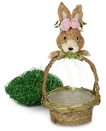 com-four® Cesta con asa con Conejito de Pascua y Pasto de Pascua, Cesta Decorativa como Nido de Pascua para Huevos de Pascua y Regalos [la selección varía] (Canasta de Pasto de Pascua - 2 Partes)