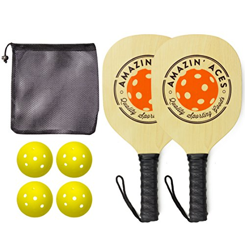 Amazin' Aces Pickleball Wood 2-Paddle Set - Includes 2 Wood Pickleball Paddles, 4 Pickleballs & 1 Carry Bag