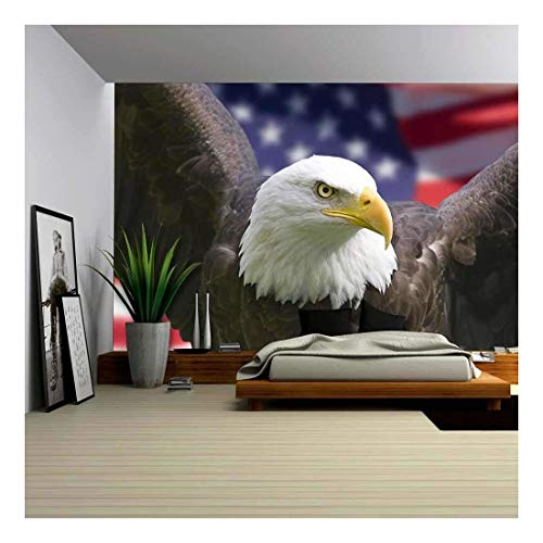 wall26 - Bald Eagle with American Flag, Focus on Head (Clipping Path) - Removable Wall Mural | Self-Adhesive Large Wallpaper - 100x144 inches