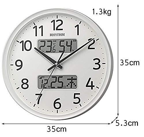 リズム(RHYTHM)掛け時計白Φ35x5.3cm電波アナログ連続秒針温度湿度カレンダー8FYA03SR03
