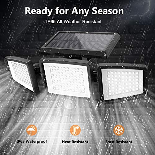 ATUPEN Solar Lights Outdoor,210 LED 1500LM Motion Sensor Lights with Remote Control, 3 Heads Security LED Flood Light, IP65 Waterproof, 270° Wide Angle Illumination Wall Light with 3 Modes(2 Packs)