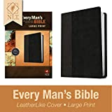 Every Man's Bible: New Living Translation, Large Print, TuTone (LeatherLike, Black/Onyx) – Study Bible for Men with Study Notes, Book Introductions, and 44 Charts