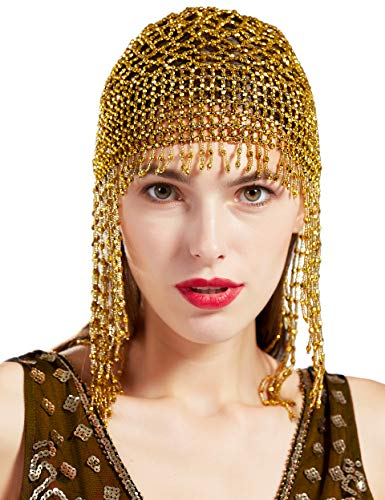 BABEYOND 1920s Beaded Cap Headpiece Roaring 20s Beaded Flapper Headpiece Belly Dance Cap Exotic Cleopatra Headpiece for Gatsby Themed Party (Gold)