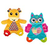 teytoy 2 Pcs Sensory Baby Teething Toys with Baby Teether&Crinkle Paper, Newborn Bib Saliva Soother Towel, Soft Snuggle Sleeping Security Blanket for Babies 0-36 Months Unisex Baby Gifts(Owl and Deer)
