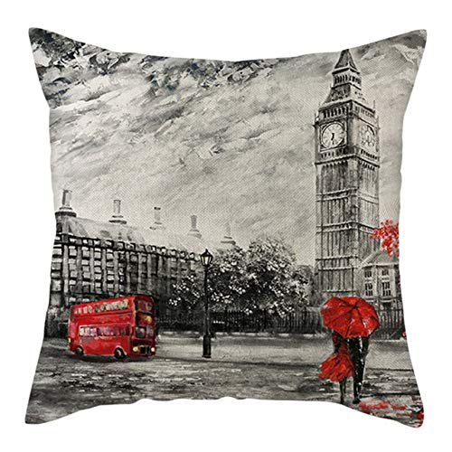 WZNB Linen Cushion Cover Red Love Pattern Pillow Cover For Home Chair Sofa And Car Decorative Pillowcases Pillow Cover PC14168