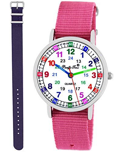 Pacific Time Kinder Armbanduhr Mädchen Lernuhr 2 Wechsel Textilarmband rosa violett analog Quarz 11130