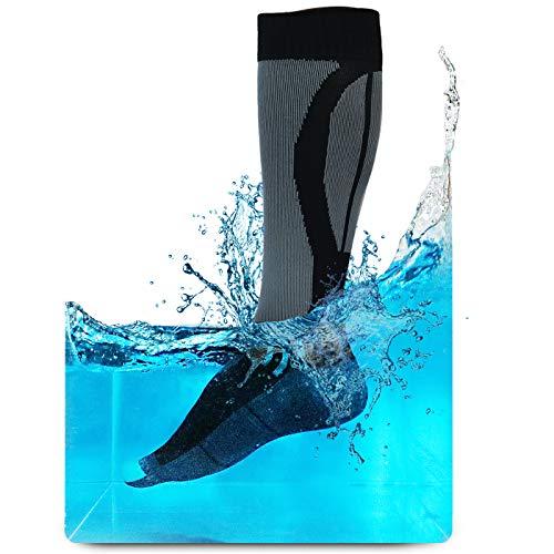 ArcticDry Ultimate - Calcetines hasta la rodilla 100% impermeables y transpirables, color Negro, azul y gris., tamaño extra-large