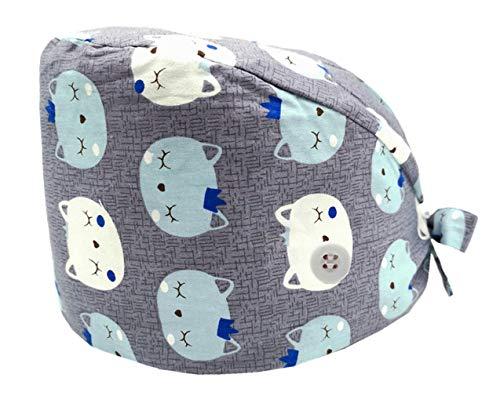 Cloudkids Sombrero Enfermera Unisex Ajustable Robin Hat Estampado Animal Sombrero Quirofano Reutilizable Dentista Gorro Gorro de Trabajo Algodón para Pelo Largo Corto (Gato)