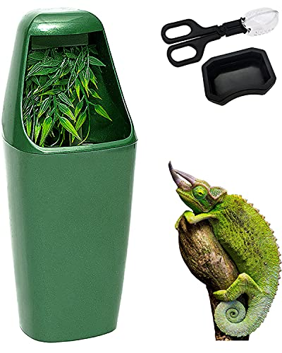 Reptile Waterfall Drinking Fountain Chameleon Water Dripper Amphibian Water Dispenser,Reptiles Terrarium Water Bowls for Bearded Dragon,Lizard,Gecko,Snake,Comes with Feeding Dish and Feeding Tongs