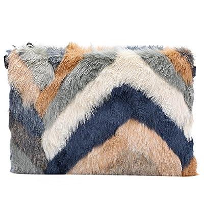 Womens Faux Fur Evening Clutch ,WALLYN'S Oversized Shoulder Bag and Handbag Purse Multi Color