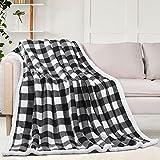 Sherpa Fleece Fuzzy Throw Blanket, Buffalo Plaid Cozy Fluffy Throws Blankets for Couch Soft Twin Christmas Bedding Sofa Flannel Plush 60'x80' Black