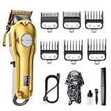 Hair Clippers for Men SUPRENT Professional Cordless Hair Clippers with All Metal Body, Hair Cutting For Home Barber Salon, Grooming Kit with Rechargeable LED Display For Men, Women & Kids, Gold