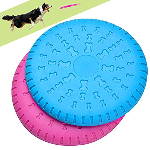 Legendog 2 Pcs Dog Flying Disc Rubber Catcher Toy 9 Inch Large Dog Toys (Pink & Blue)