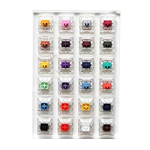 24 Switch switches Tester with Acrylic Base Blank keycaps for Mechanical Keyboard kailh Box Heavy pro Purple Orange Yellow Gold (Kailh 24 Switch Tester)