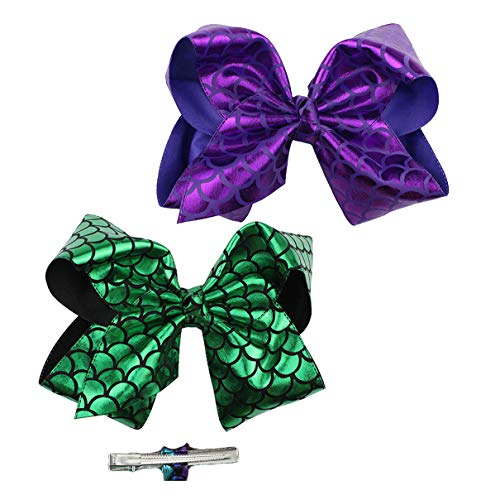 Girls Large Bow Hairpins Mermaid Fish Scale with Alligator Clip Hairgrips JB32 (2 Pcs-Green Purple, 7.8 Inch)