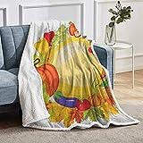 YUAZHOQI Manta de cosecha para cama Productos de jardín de todo el año, seta campana, pimientos, zanahoria, puerro, manta de forro polar, para sofá sofá de 152 x 203 cm, multicolor