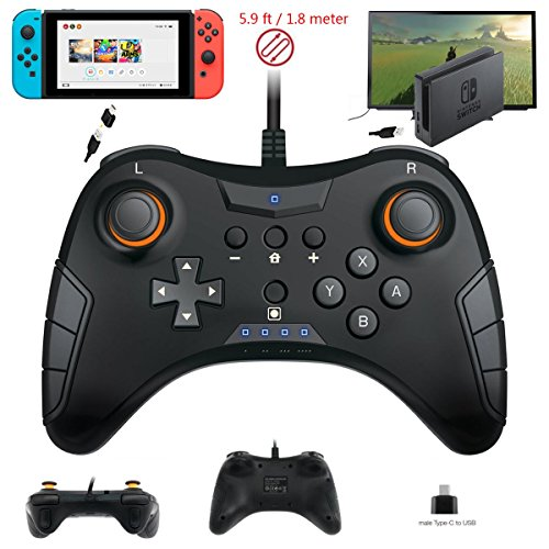 Whiteoak Switch Pro Controller, USB Wired Gaming Gamepad Joystick for Nintendo Switch, Steam, PC(Windows XP/7/8/10), PS3, Android