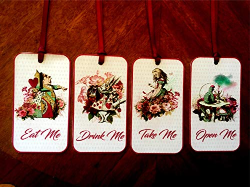 Alice in Wonderland Eat Me, Drink Me, Take Me, Open Me Party Tags Wedding