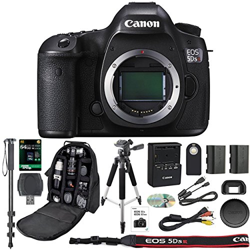Canon EOS 5DS R Professional DSLR Camera + 64GB SDXC Memory Card + Extra LP-E6 Battery + SD Card Reader + Pro Camera Case + IR Remote + Monopod - International Version (No Warranty)