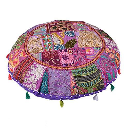GANESHAM - Taburete redondo para el suelo, hecho a mano, estilo hippie, de algodón, bohemio, bohemio, bordado a mano, diseño étnico