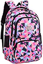 JiaYou Girl Geometric Printed Primary Junior High University School Bag Bookbag Backpack(2# Black,35 L)