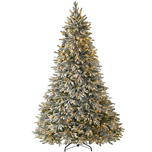 WeRChristmas Pre-Lit Frosted Snow Christmas Tree with 650 Chasing Warm LED Lights, Multi-Colour, 7.5 feet/2.25m