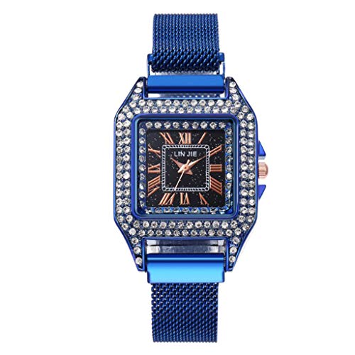 Yivise Mujeres Hombres Caja Cuadrada Imán Hebilla Cinturón de Malla Reloj de Pulsera de Cuarzo Reloj de Moda(B)