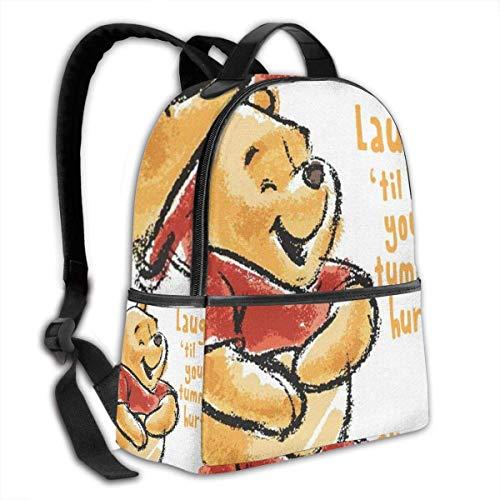 Adhyr Winnie The Pooh Lachen Schwarz Rucksack Reißverschluss Schultasche Reise Daypack Unisex Adult Teens Geschenk