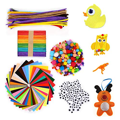 フェルト生地シート ハンドメイド diyセット DIY飾り物 子供知育玩具 手芸モール ポンポンボール 590点セット 柔らかいタイプ 40色入り