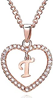New Women Letters Pendant Necklace FAVOT Creative 26 Letters Rhinestones Heart Cutout Choker Sweater Chain Jewelry Accessories (Style-t)
