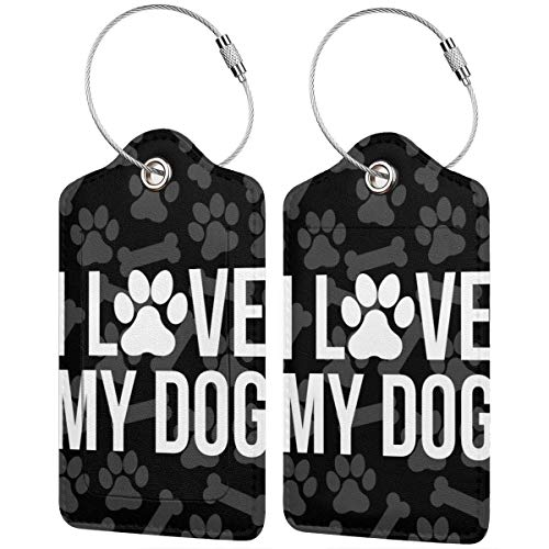 I Love My Dog Personalized Leather Luxury Suitcase Tag Set Travel Accessories Luggage Tags