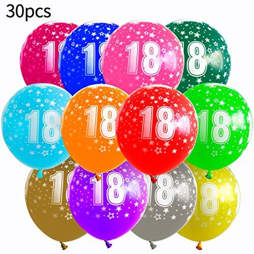 test Einfarbige Luftballons, 30 Stück, 12-Zoll-Latexballons mit Zahlen, 18 Jahre, mehrfarbig… Deutschland