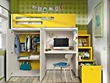Chambre d'enfant Vita 41 Lit mezzanine avec escalier, espace de rangement intégré, bureau, penderie au choix de couleurs