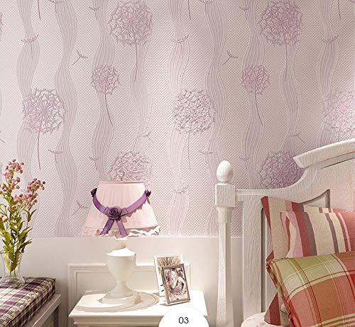Papel pintado 3D Diente de león no tejido Papel pintado Morado claro para decoración de pared de dormitorio y hogar, papel pintado minimalista de lujo 0.53mx9.5m