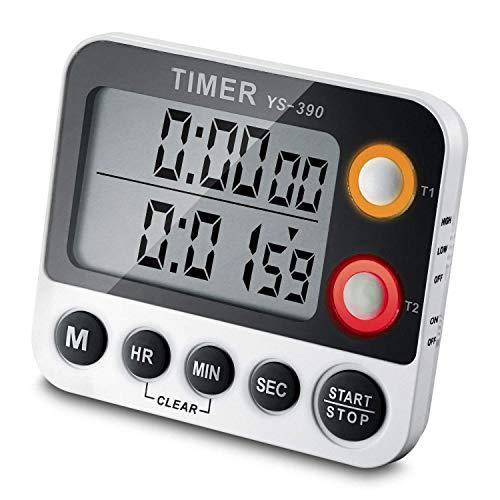 Ceebon - Timer digitale, timer con conto alla rovescia, conta fino 100ore, a doppio conteggio, timer da cucina con magnete, staffa da appendere, grande display LCD, allarme molto sonoro