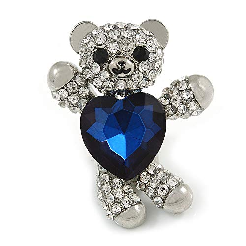 Avalaya Little Teddy Bear Crystal Brooch in Silver Tone (Clear/Dark Blue) - 40mm Tall