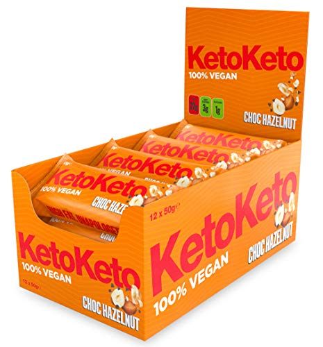 Keto Keto Bars 12 x 50g Keto Snacks Weight Loss   Keto Diet, Sugar Free Snack, Meal Replacement Bar   Healthy Snacks, Low Carb Food   Low Calorie, Vegan Food, Breakfast Bar (Chocolate Hazelnut)