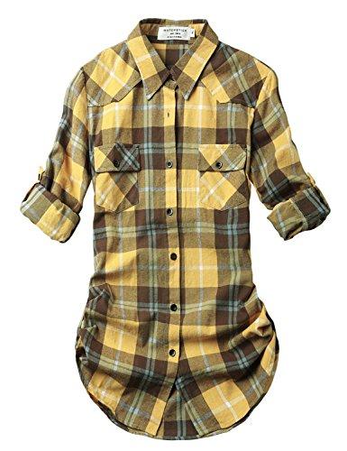 Match Women's Long Sleeve Plaid Flannel Shirt #2021(Medium, Checks#21)
