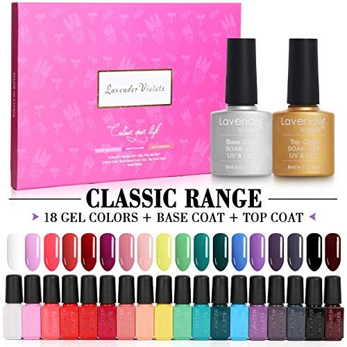 Lavender Violets 20pcs Gel Set de regalo de esmalte de uñas Soak Off UV LED 18 Color Coats Base Top Coat para Nail Art Salon Design F997