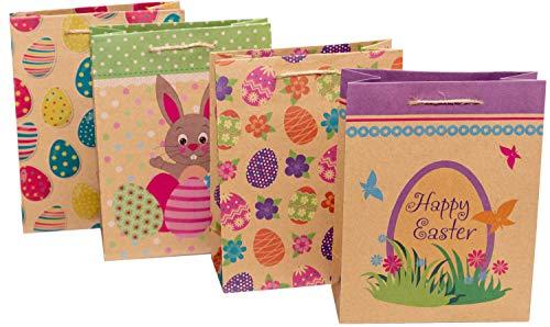 Ostertüten zum Befüllen, 12 Stück, 18 x 23 x 8 cm, Geschenktüten Ostern | Papiertüten Ostermotive | Geschenktaschen als Osternest