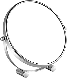 Vanity Mirror Desktop Makeup Mirror Foldable 360 Degree Free Rotation Bracket Iron Carbon Alloy HD Silver Plated Double-Sided Stable Base for Home Dressing Room Silver