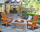 Adirondack Chair Set of 2 Outdoor Chairs Patio Chair Fire Pit Seating Lawn Chair Folding Wooden Lounger Chair Accent Furniture Weather Resistant Wood Chairs w/Natural Finish