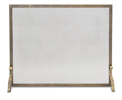 Pilgrim, Antique Brass Home and Hearth 18254 Bay Branch Embossed Single Panel Fireplace Screen, 39″W x 31.5″H, 22 lbs