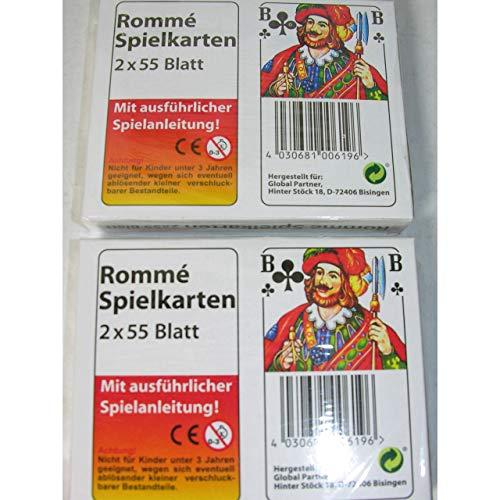 1a-becker 2X ROMME Spielkarten je 2X 55 Blatt Spiel Karten französisches Blatt mit Spielanleitung