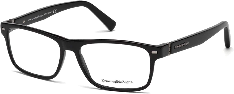 ERMENEGILDO ZEGNA EZ5073001 ACETATE EYEGLASS FRAME Black, Silver 57MM