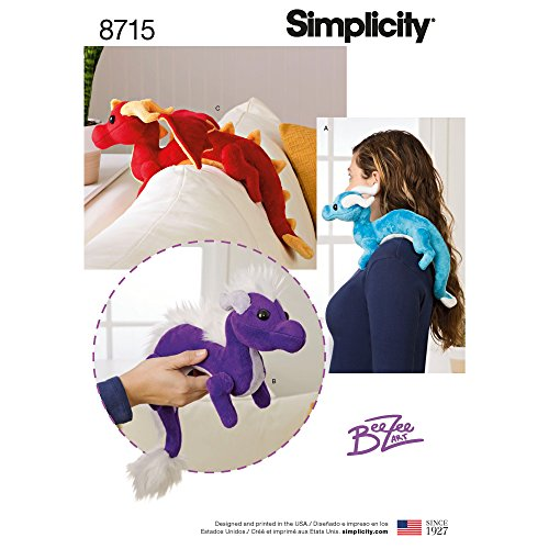 Simplicity 8715 Schnittmuster für Kinder, Stofftiere, Drachenspielzeug, Einheitsgröße