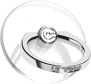 【2個入り】 スマホリング 透明 薄型 ホールドリング 落下防止リング スタンド機能 車載ホルダー 360回転 iPhone/Android各種他対応 (銀とダイヤモンド)