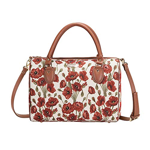 Tapisserie Siganre Sac De Voyage Femme, Bagage à Main, Weekender, Gym Bag avec des Motifs Floraux (Coquelicot)
